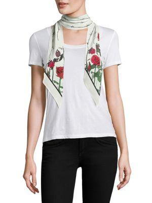 Rockins Roses Super Skinny Silk Scarf In White-multi