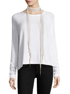 Chan Luu Long Chain Fringed Skinny Scarf In White