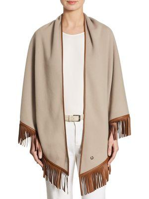 Loro Piana Fringed Leather & Cashmere Poncho In Warm Sand