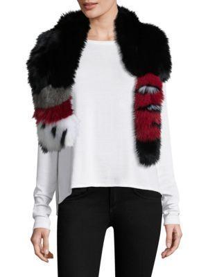 Adrienne Landau Tail-detail Fox Fur Scarf In Black Red