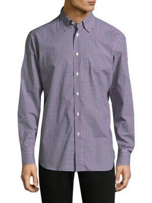 Brioni Gingham Cotton Casual Button-down Shirt In Multi