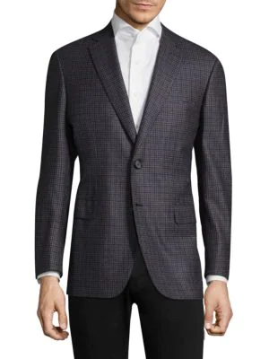 Brioni Checked Wool Sportscoat In Light Grey