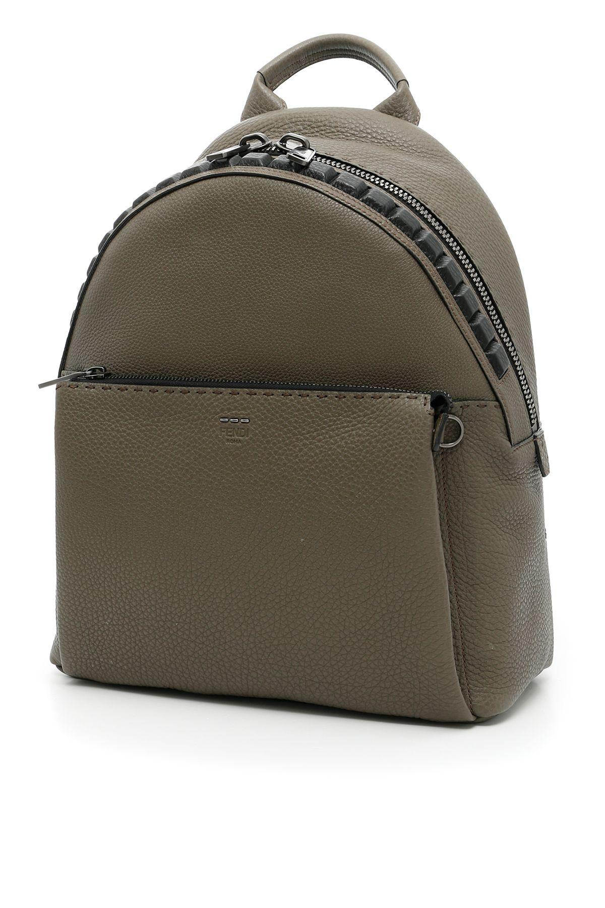 Fendi Selleria Backpack In Milit+nr+rut.satverde