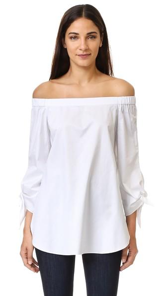 Tibi Agathe Off-The-Shoulder Stretch Poplin Top, Ivory In White