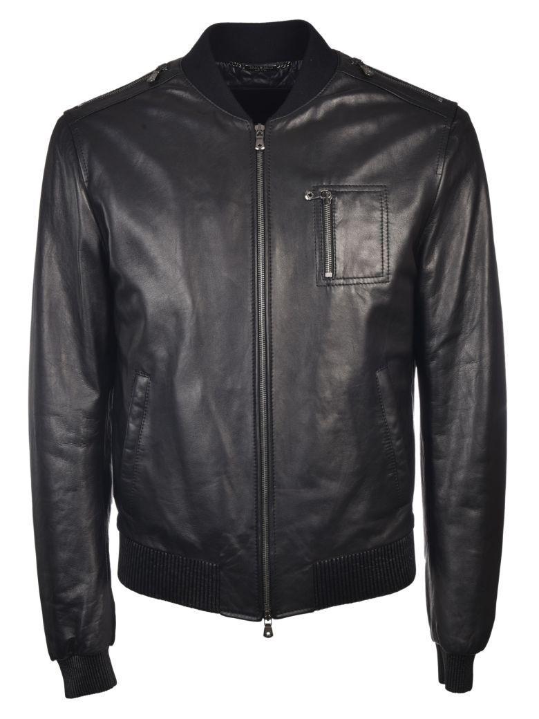 Dolce & Gabbana Leather Bomber Jacket In Nero