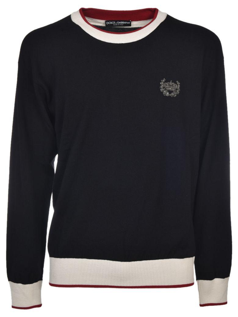 Dolce & Gabbana Embroidered Crown Sweater In Nero
