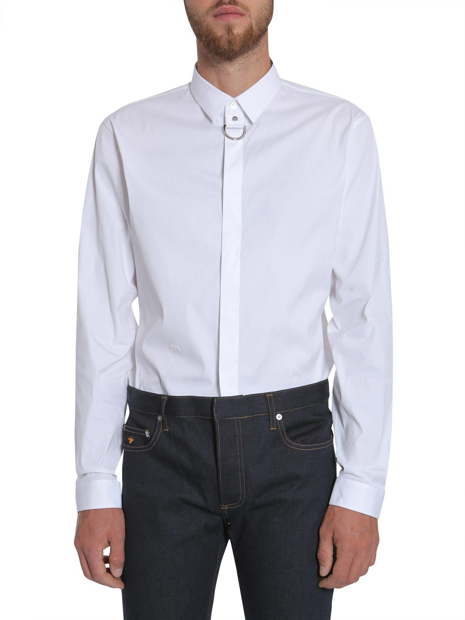 Dior Homme Shirt With Metal Buckle In Bianco