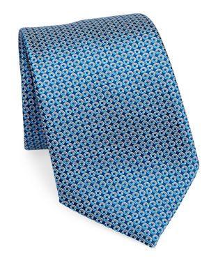 Ermenegildo Zegna Disk Printed Silk Tie In Blue