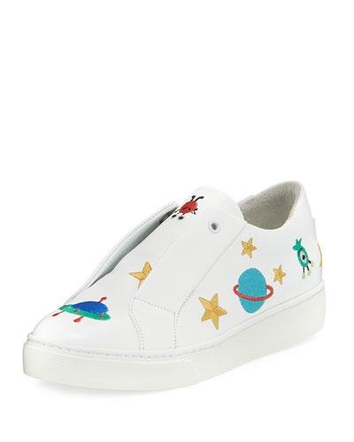 Here/now Halley Space Embroidered Slip-on Sneakers In White Pattern
