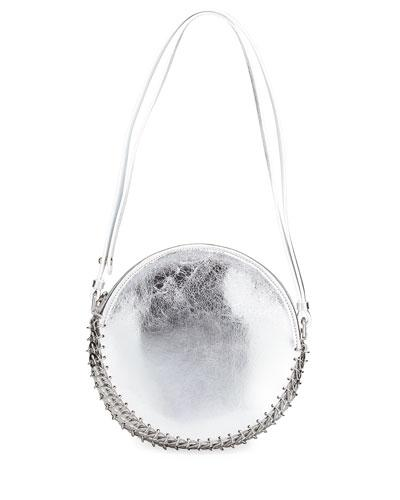 Paco Rabanne 14#02 Crackled Metallic Leather Circle Bag In Silver
