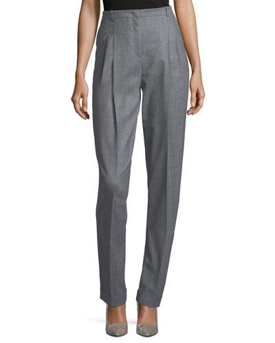 Michael Kors Cuffed Pleat-front Trousers In Gray