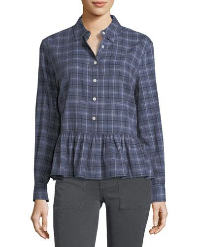 The Great The Ruffle Long-sleeve Plaid Oxford Shirt In Multi Pattern