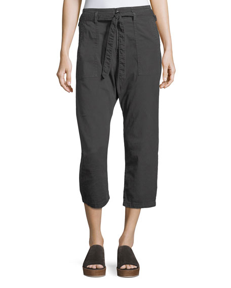 The Great The Convertible Twill Cropped Trouser In Black