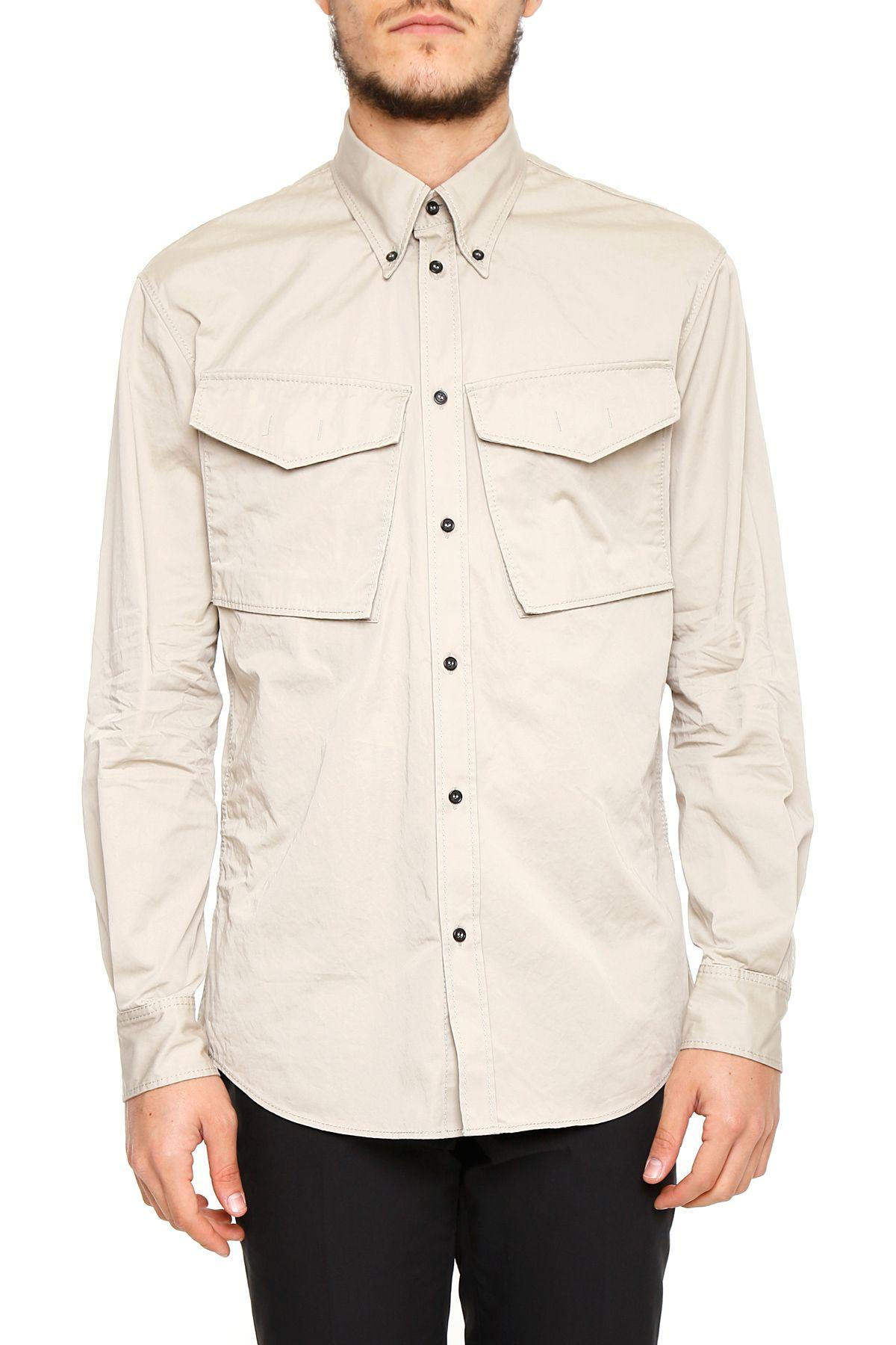 Dsquared2 Casual Cotton Shirt In Stonebeige