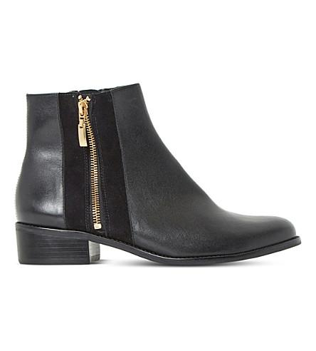 Dune Pauler Leather Ankle Boots In Black-leather