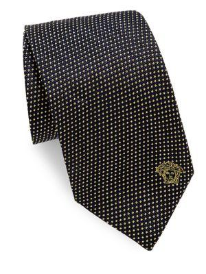 Versace Silk Tie With Micro Design In Black