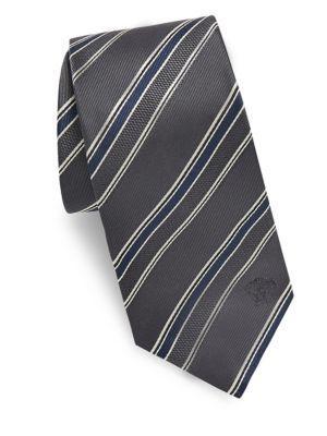 Versace Regimental Silk Tie In Grey