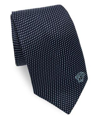 Versace Silk Tie With Micro Design In Blue