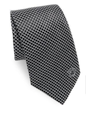 Versace Curved Web Silk Tie In Black