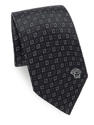 Versace Dotted Silk Tie In Black
