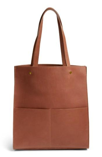Madewell The Passenger Convertible Leather Tote - Brown In Rich Brown