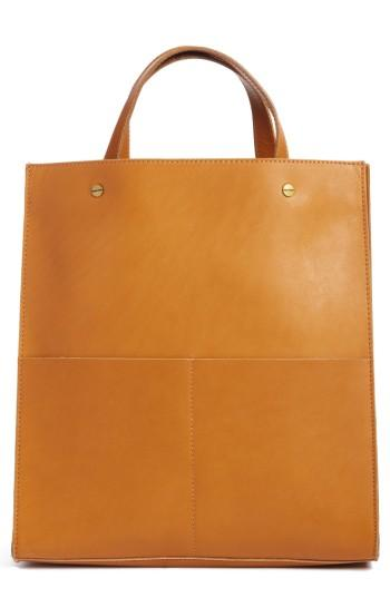 Madewell The Passenger Convertible Leather Tote - Brown In Cider
