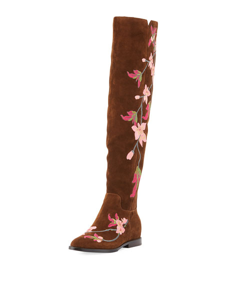 Ash Jess Embroidered Suede Over-the-knee Boots In Rust