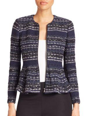 Rebecca Taylor Metallic-knit Tweed Jacket In Navy Combo