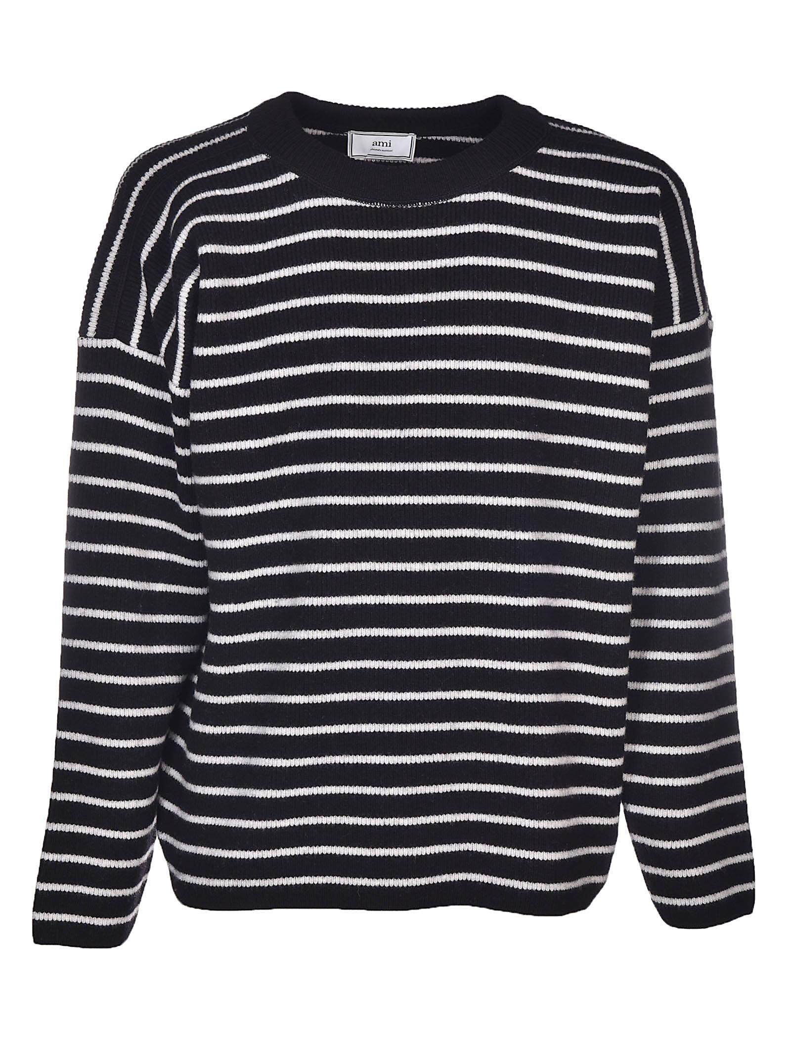 Ami Alexandre Mattiussi Oversized Crew Neck Sweater In Black White