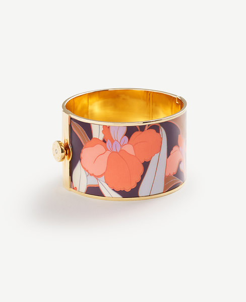 Ann Taylor Enamel Floral Bangle In Gold