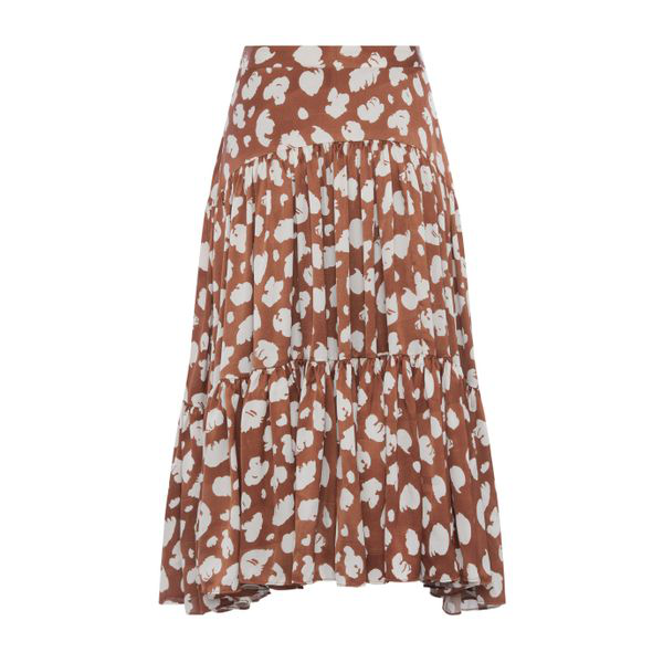 French Connection Aimee Midi Tiered Circle Skirt In Orange Brown Flowers