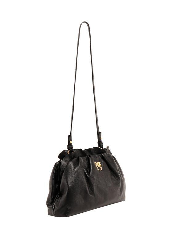 Pinko Leather Shoulder Bag In Nero