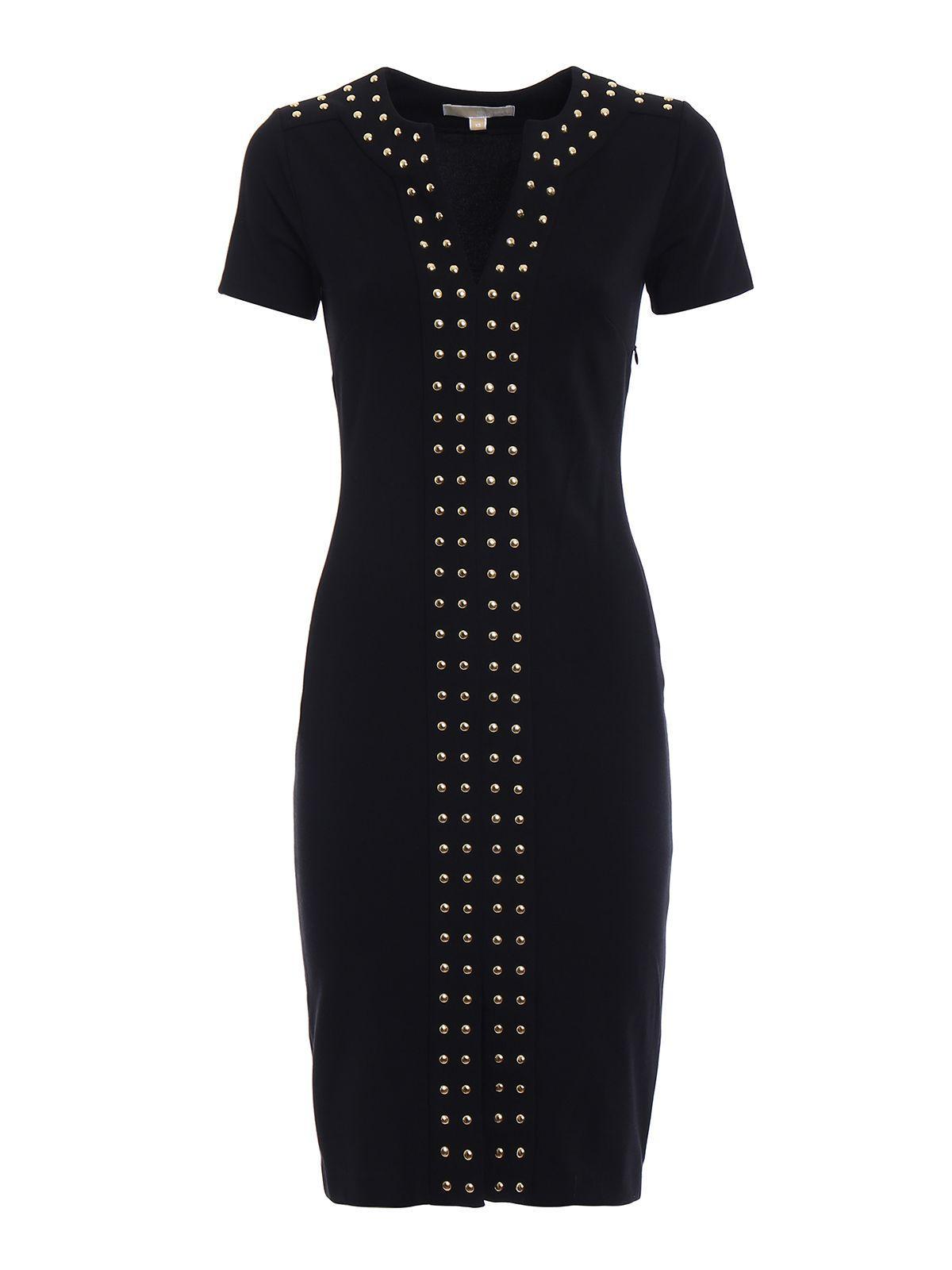 Michael Kors Stud Detail Jersey Pencil Dress In Black