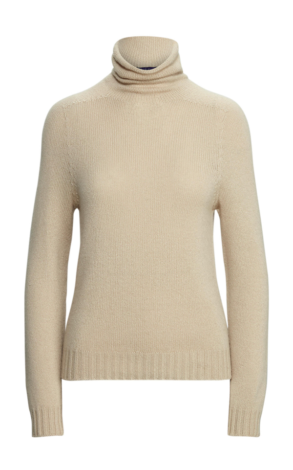Ralph Lauren Cashmere Long-sleeve Funnelneck Sweater In Neutral