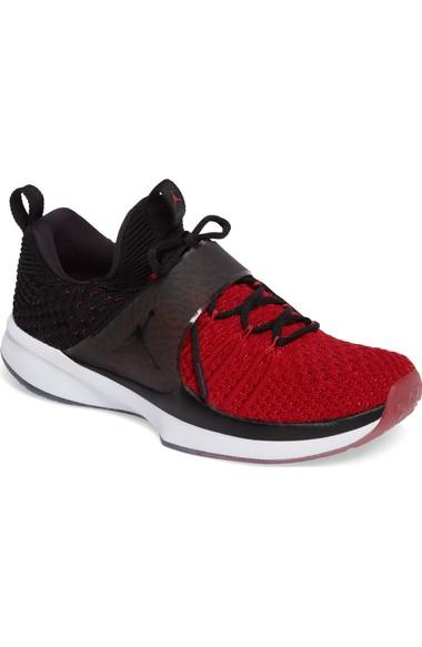 check out 3c0ab 2132f Nike Jordan Flyknit Trainer 2 Low Sneaker In Gym Red  Black  Black