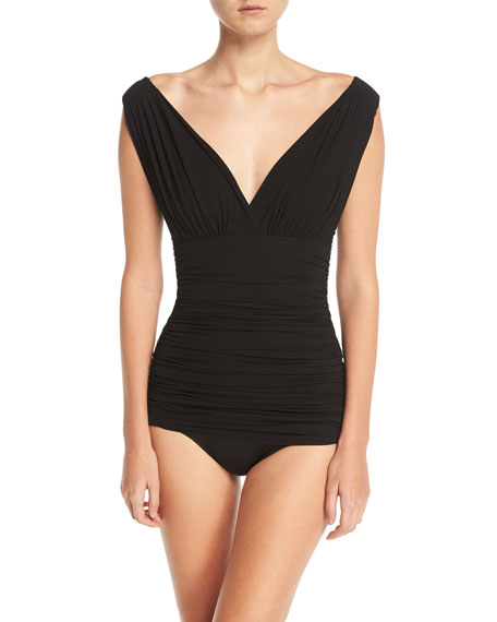 dcbdb33d70 Tara Mio V-Neck Solid One-Piece Swimsuit in Black