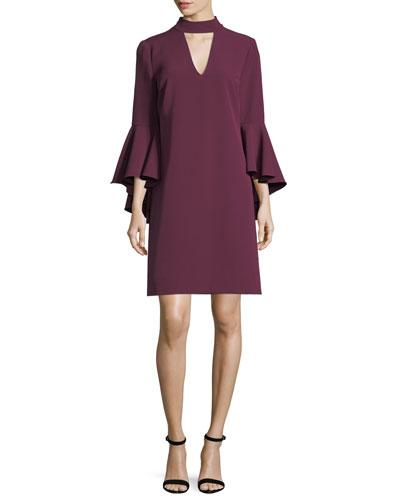 Milly Andrea Bell-Sleeve Italian Cady Minidress In Burgundy