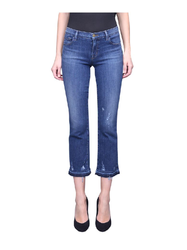 J Brand Selena Cotton Denim Jeans In Blu