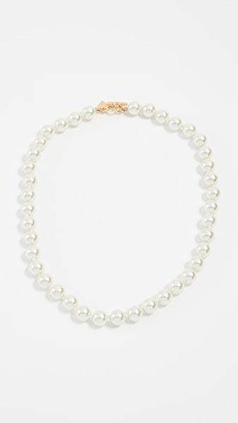 Kenneth Jay Lane Glass Pearl Choker Necklace In Gold/pearl