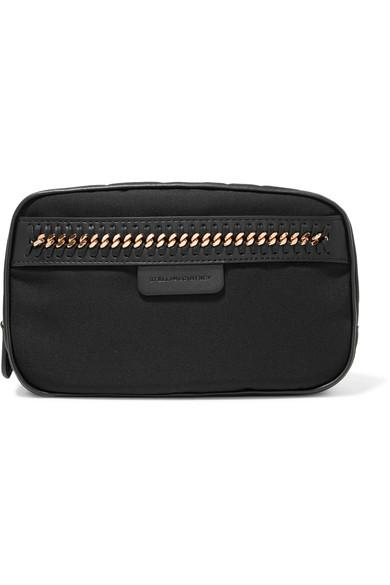 Stella Mccartney The Falabella Chain And Faux Leather-Trimmed Shell Cosmetics Case In Black