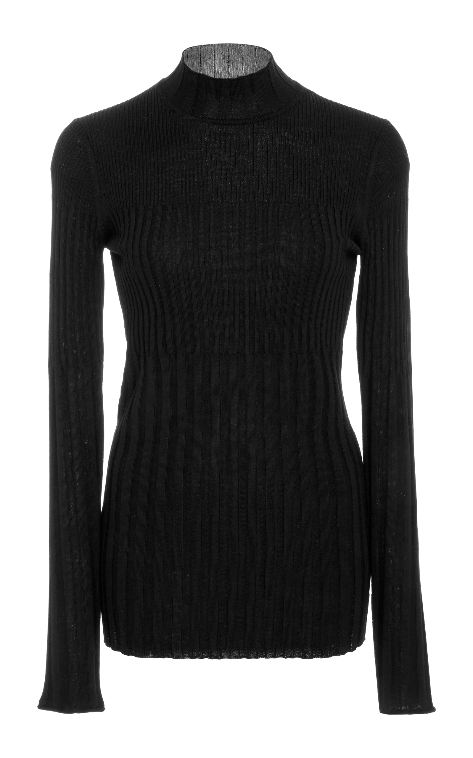 Atm Anthony Thomas Melillo Ribbed Mock Neck Long Sleeve Wool Top In Black