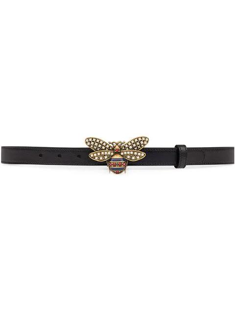 af47882a5 Gucci Embellished Bee Clasp Leather Belt In Black   ModeSens