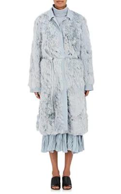 Sies Marjan Alpaca Fur Belted Coat - Lt. Blue
