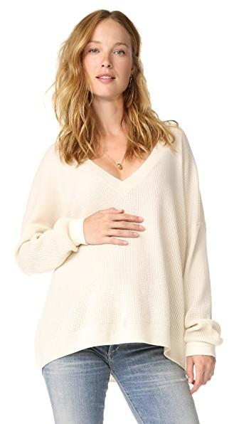 Hatch Easy V Neck Sweater In Ivory