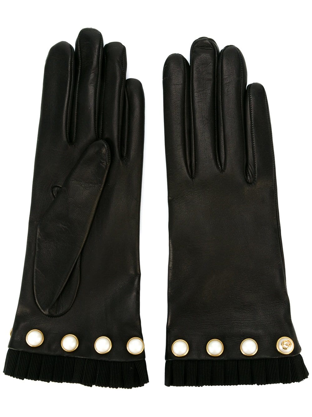 e3913b0e6c5 A leather glove with grosgrain ribbon detail along the opening and glass  pearl studs that are seen throughout the collection. Black leather Grosgrain  detail ...