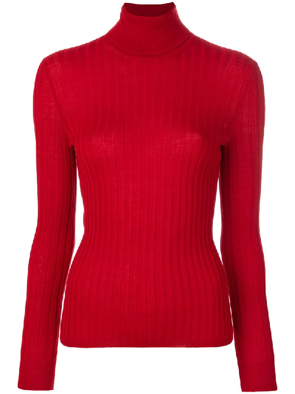 Gucci Fine Silk Blend Polo Neck Knitted Top In Red