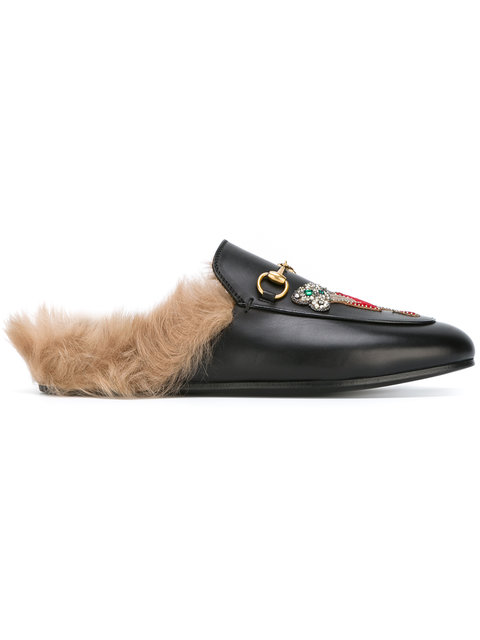 Gucci Tiger Patch Princetown Fur Lined Mules In Black