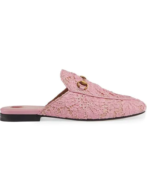 16528b0dde2 Gucci Lace Princetown Slippers In Pink