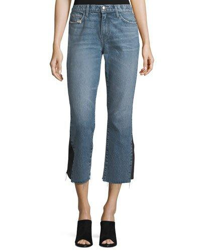 Current Elliott The Kick Mid-Rise Straight-Leg Jeans W/ Insert In Blue