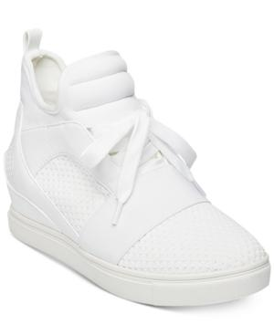 18abdd3e8b7 Steve Madden Women s Lexi Flyknit Wedge Sneakers In White